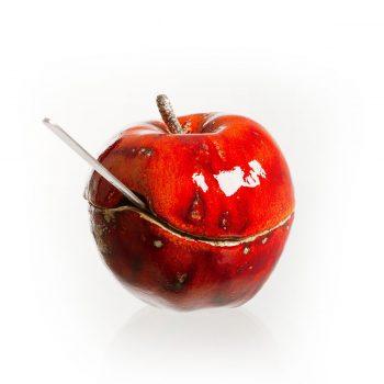 ceramiczna cukiernica, jabłko