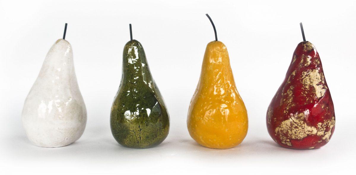 ceramiczne owoce, gruszki