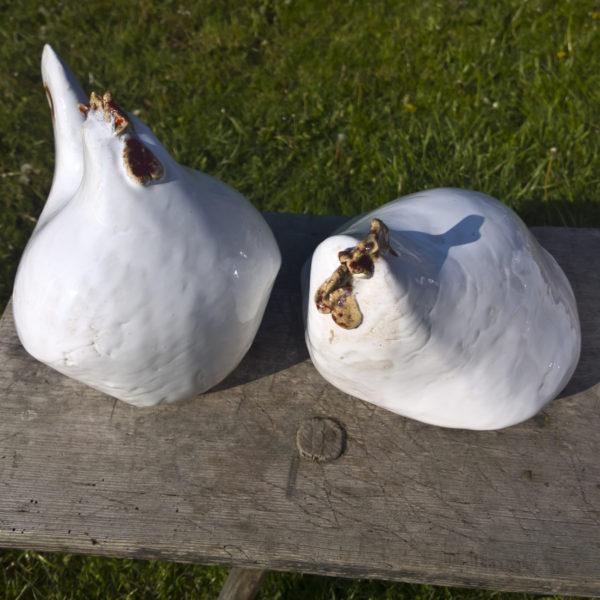 białe kury ceramiczne
